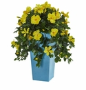 31�� Hibiscus Artificial Plant in Turquoise Tower Vase -