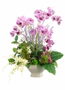 "32"" Artificial Orchid, Silk Hydrangea Flower Arrangement in Ceramic Bowl"