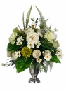 "32"" Artificial Silk Rose, Peony, Daisy and Cosmo Flower Arrangement in Pedestal Vase"