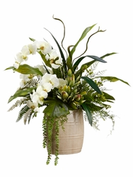 "32"" Silk Phalaenopsis Orchid and Staghorn Arrangement in Ceramic Vase"