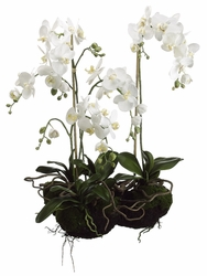 "33"" Artificial Phalaenopsis Orchid Plant Arrangement with Soil & Moss"