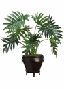 """33"""" Artificial Selloum Philodendron Floor Plant in Metal Container"""