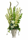 "33"" Bells of Ireland/Snowball/Hops Artificial Flower Arrangement in Ceramic Vase"