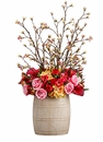 "33"" Silk Rose, Calla Lily, Peony and Alstromeria Arrangement in Ceramic Pot"