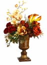 "34"" Artificial Rose, Magnolia and Peony Silk Flower Arragement in Resin Urn"