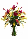 "34"" Artificial Silk Banana Flower/Heliconia/Freesia Arrangement in Glass Vase"