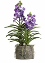 "35"" Artificial Vanda Orchid Plant in Decorative Cement Pot"