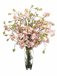 35 Silk Cherry Blossom Flower Arrangement In Gl Vase