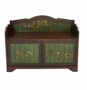 36�� Antique Floral Art Bench with Drawers -