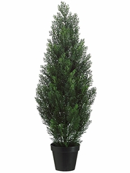 "36"" Artificial Cedar Topiary Tree in Plastic Container - Set of 4 (shown in Green)"