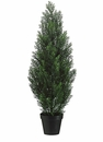 "36"" Artificial Cedar Topiary Tree in Plastic Container - Set of 2 (shown in Green)"