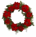 36� Poinsettia Flower and Pine Artificial Wreath