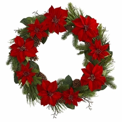 "36"" Poinsettia Flower and Pine Artificial Wreath"