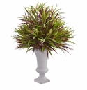 37�� Burgundy Grass Artificial Plant in Elegant Urn -