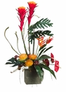 "38"" Artificial Bromeliad, Protea,Anthurium Flowers and Fern in Terra Cotta Pot"