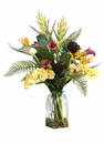 "38"" Heliconia/Phalaenopsis Orchid/Protea Artificial Arrangement in Glass Vase"