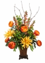 "38"" Silk Dahlia, Snapdragon and Rannunculus Flower Arrangement in Ceramic Vase"