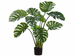 "39"" Artificial Split Philodendron Leaf Floor Plant in Black Plastic Pot - Set of 2"