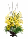 "39"" Silk Orchid, Protea, Echeveria Cactus Arrangement in Ceramic Container"