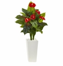 4.5� Anthurium Artificial Plant in White Tower Planter