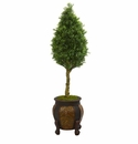 4.5� Boxwood Cone Artificial Tree in Decorative Planter  -