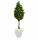 4.5� Boxwood Cone Topiary Artificial Tree in White Oval Planter UV Resistant (Indoor/Outdoor) -