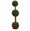 4.5� Boxwood Double Topiary Artificial Tree in Decorative Planter  -