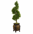 4.5� Boxwood Spiral Topiary Artificial Tree in Decorative Planter  -