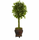 4.5� Braided Ficus Artificial Tree in Planter UV Resistant (Indoor/Outdoor) -