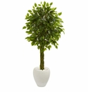 4.5� Braided Ficus Artificial Tree in White Planter UV Resistant (Indoor/Outdoor) -