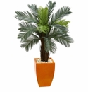 4.5� Cycas Artificial Tree in Orange Planter UV Resistant (Indoor/Outdoor) -