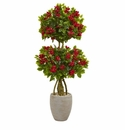 4.5� Double Bougainvillea Topiary Artificial Tree in Oval Planter -