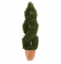 4.5� Double Pond Cypress Topiary Artificial Tree in Terracotta Planter UV Resistant (Indoor/Outdoor) -