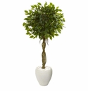 4.5� Ficus Artificial Tree in White Oval Planter UV Resistant (Indoor/Outdoor) -