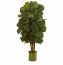 4.5� Fiddle Leaf Artificial Tree in Green Tin Planter  -