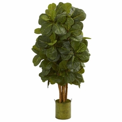 4.5' Fiddle Leaf Artificial Tree in Green Tin Planter  -