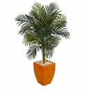 4.5� Golden Cane Palm Artificial Tree in Orange Planter -