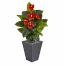 4� Anthurium Artificial Plant in Slate Planter (Real Touch) -