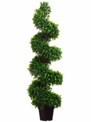 Set of 2 - 4' Artificial Jade Spiral Topiary Plants indoor outdoor