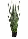 4' Artificial Snake Grass Plant in Black Plastic Pot- Set of 2