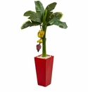 4� Banana Artificial Tree in Red Tower Planter -