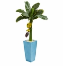 4� Banana Artificial Tree in Turquoise Tower Vase -