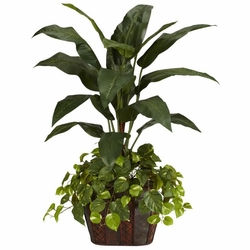 4' Bird of Paradise in Decorative Vase & Pothos Silk Plant