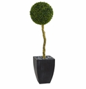 4� Boxwood Ball Topiary Artificial Tree in Black Wash Planter UV Resistant (Indoor/Outdoor)  -