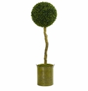 4� Boxwood Ball Topiary Artificial Tree in Green Tin Planter UV Resistant (Indoor/Outdoor) -
