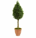 4� Boxwood Cone Artificial Tree in Terracotta Planter UV Resistant (Indoor/Outdoor) -