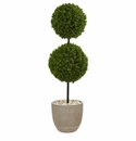 4� Boxwood Double Ball Topiary Artificial Tree in Oval Planter UV Resistant (Indoor/Outdoor) -