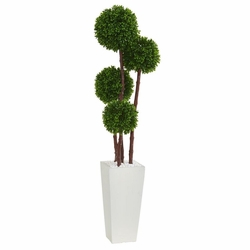 4' Boxwood Topiary Artificial Tree in Planter UV Resistant (Indoor/Outdoor)