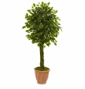 4� Braided Ficus Artificial Tree in Terracotta Planter UV Resistant (Indoor/Outdoor) -