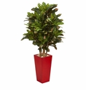 4� Croton Artificial Plant in Red Planter -